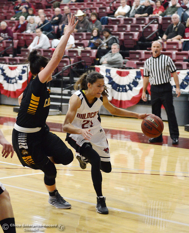 . Chico State\'s #21 Courtney Hamilton (right) dribbles against Cal State L.A. \'s #1 Paige Melville (left) in the first half of their women\'s basketball game at CSUC Acker Gym Saturday, January 11, 2014 in Chico, Calif.  (Jason Halley/Chico Enterprise-Record)