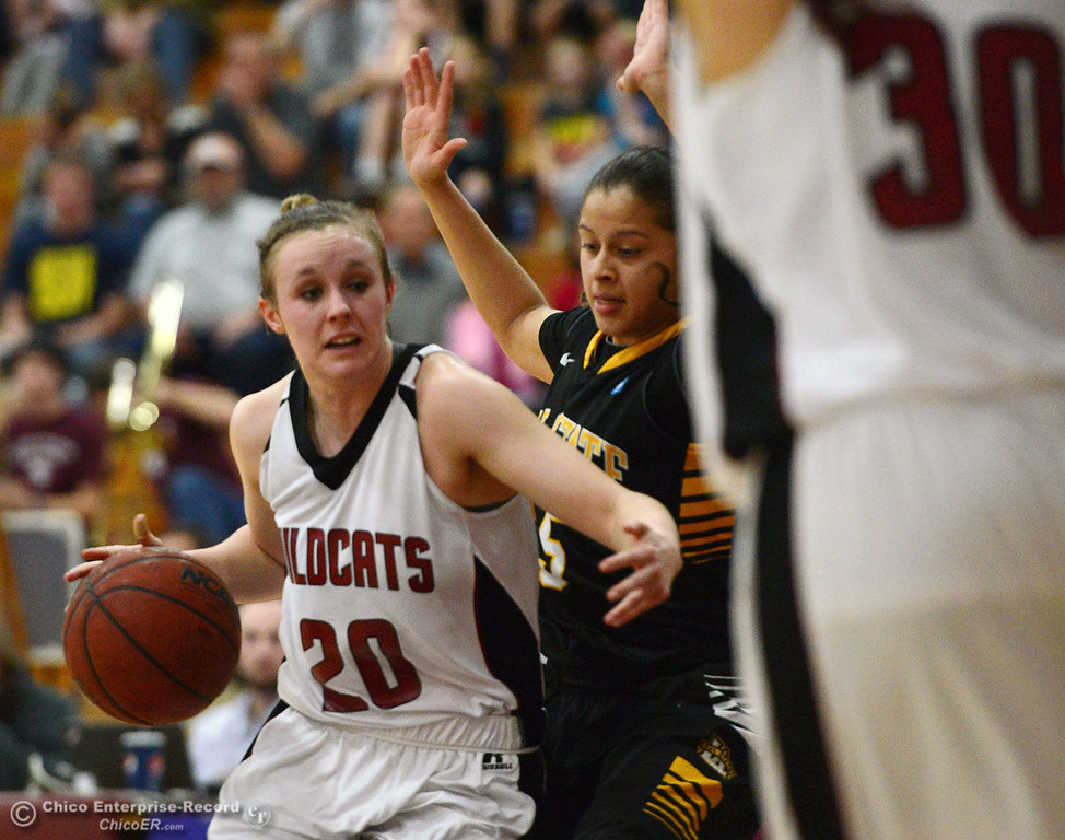 . Chico State\'s #20 Annie Ward (left) dribbles against Cal State L.A.\'s #5 Emily Tevez (right) in the second half of their women\'s basketball game at CSUC Acker Gym Saturday, January 11, 2014 in Chico, Calif.  (Jason Halley/Chico Enterprise-Record)