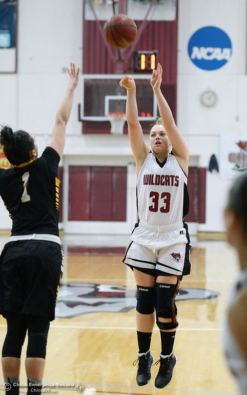 . Chico State\'s #33 Ashtyn Anderson (right) takes a shot against Cal State L.A.\'s #1 Paige Melville (left) in the first half of their women\'s basketball game at CSUC Acker Gym Saturday, January 11, 2014 in Chico, Calif.  (Jason Halley/Chico Enterprise-Record)