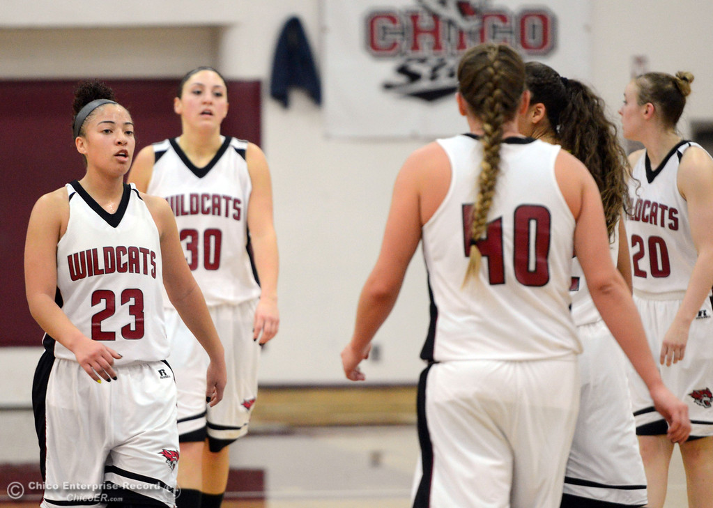 . Chico State\'s #23 Jazmine Miller (left) looks on against Cal State L.A. in the first half of their women\'s basketball game at CSUC Acker Gym Saturday, January 11, 2014 in Chico, Calif.  (Jason Halley/Chico Enterprise-Record)