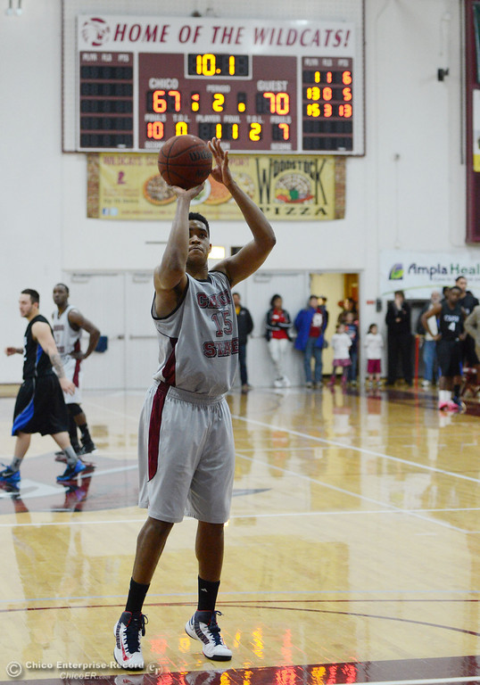 . Chico State\'s #15 Amir Carraway takes a free throw against Cal State San Bernardino in the second half of their men\'s basketball game at CSUC Acker Gym Saturday, February 8, 2014 in Chico, Calif.  (Jason Halley/Chico Enterprise-Record)