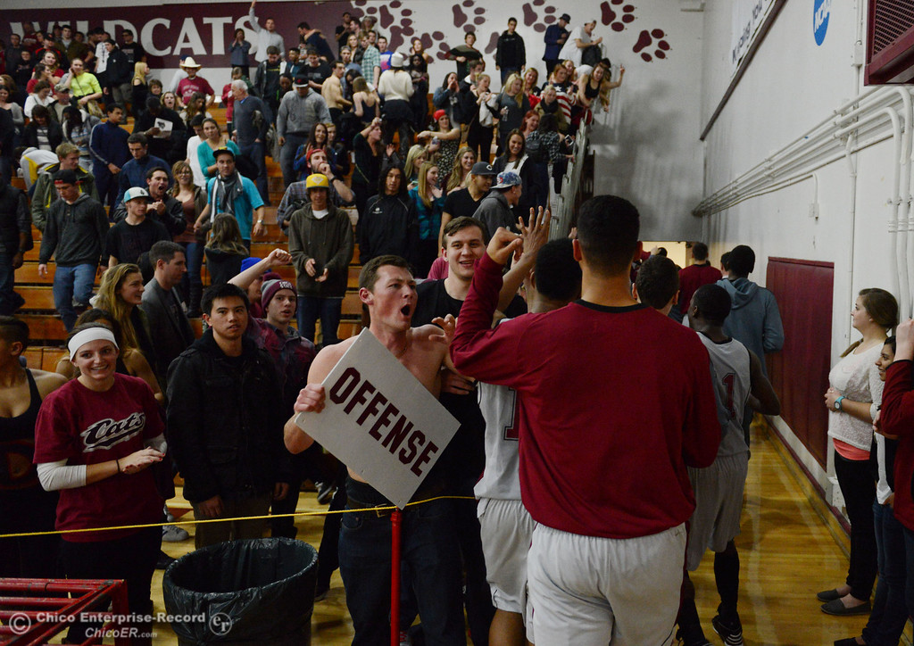 . Chico State fans cheer on their team against Cal State San Bernardino in winning in overtime of their men\'s basketball game at CSUC Acker Gym Saturday, February 8, 2014 in Chico, Calif.  (Jason Halley/Chico Enterprise-Record)