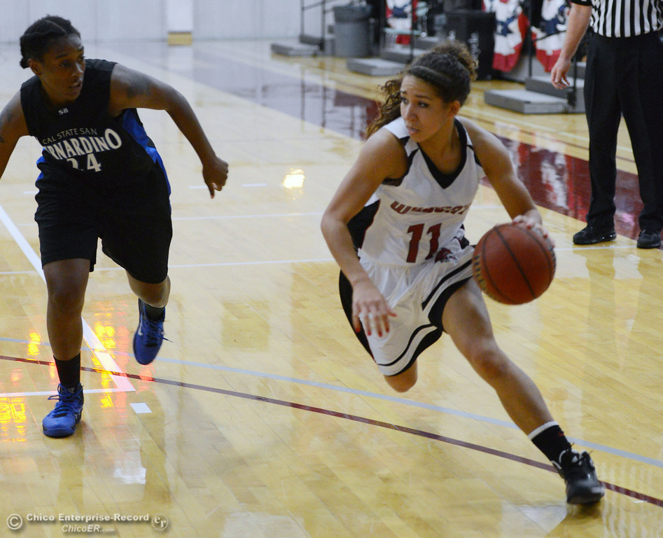 . Chico State\'s #11 Hannah Womack (right) dribbles against Cal State San Bernardino\'s #24 Adriana Brodie (left) in the first half of their women\'s basketball game at CSUC Acker Gym Saturday, February 8, 2014 in Chico, Calif.  (Jason Halley/Chico Enterprise-Record)