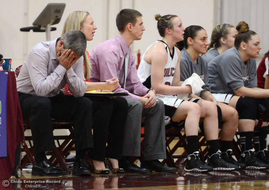 . Chico State head coach Brian Fogel (left) reacts to a poor start against UC San Diego in the first half of their women\'s basketball game at CSUC Acker Gym Friday, February 7, 2014 in Chico, Calif.  (Jason Halley/Chico Enterprise-Record)
