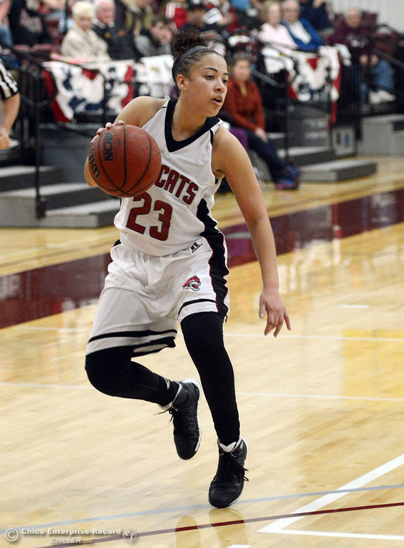 . Chico State\'s #23 Jazmine Miller dribbles against UC San Diego in the second half of their women\'s basketball game at CSUC Acker Gym Friday, February 7, 2014 in Chico, Calif.  (Jason Halley/Chico Enterprise-Record)