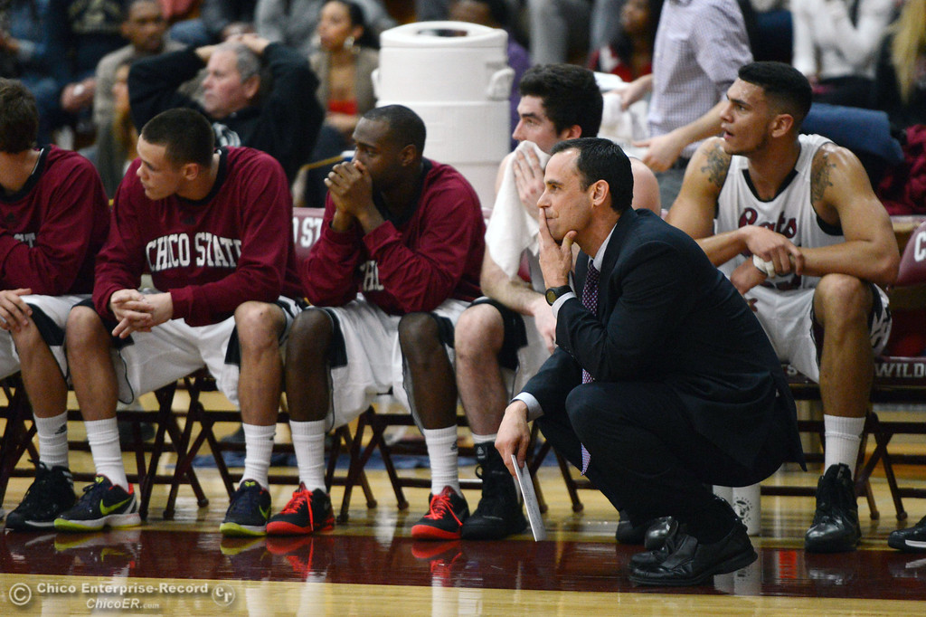 . Chico State head coach Greg Clink looks on against Sonoma State in the second half of their men\'s basketball game at CSUC Acker Gym Friday January 31, 2014 in Chico, Calif. (Jason Halley/Chico Enterprise-Record)