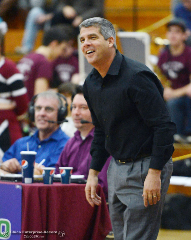 . Chico State head coach Brian Fogel reacts to a call against Sonoma State in the second half of their women\'s basketball game at CSUC Acker Gym Friday January 31, 2014 in Chico, Calif. (Jason Halley/Chico Enterprise-Record)