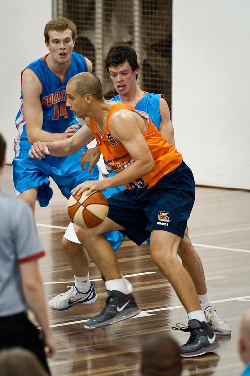 "Dusty Rychart, Jason Cadee - Cairns Taipans v Gold Coast Blaze Pre-season  NBL Basketball, Auchenflower, Brisbane, Queensland, Australia; 3 September 2011. Photos by Des Thureson:  <a href=""http://disci.smugmug.com"">http://disci.smugmug.com</a>."