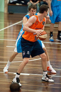 Jeff Dowdell, Zac Carter - Cairns Taipans v Gold Coast Blaze Pre-season  NBL Basketball, Auchenflower, Brisbane, Queensland, Australia; 3 September 2011. Photos by Des Thureson:  http://disci.smugmug.com.