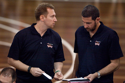 Mick Downer with the Taipans' Brisbane 'Satellite' Assistant Coach Dwight Hicks - Cairns Taipans v Gold Coast Blaze Pre-season  NBL Basketball, Auchenflower, Brisbane, Queensland, Australia; 3 September 2011. Photos by Des Thureson:  http://disci.smugmug.com.