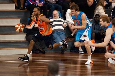 Deba George, Zac Carter - Cairns Taipans v Gold Coast Blaze Pre-season  NBL Basketball, Auchenflower, Brisbane, Queensland, Australia; 3 September 2011. Photos by Des Thureson:  http://disci.smugmug.com.