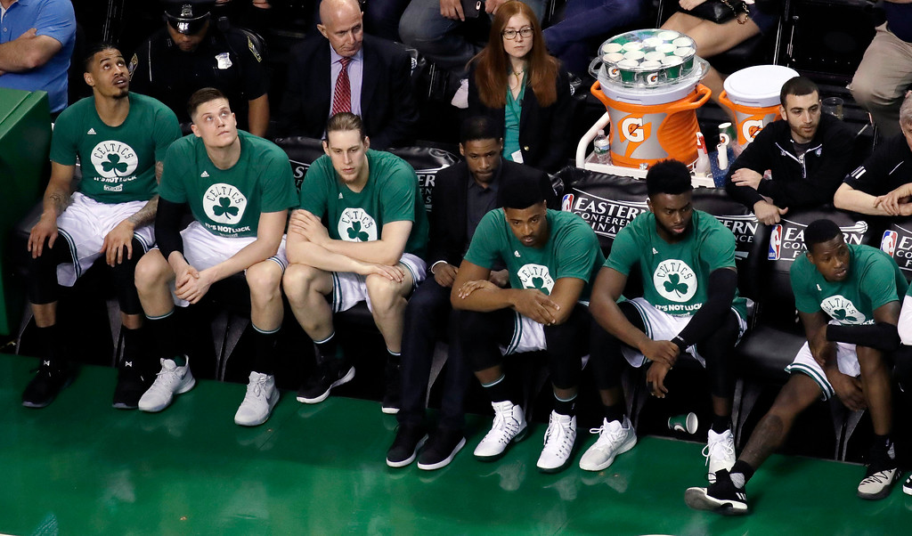 . Players on the Boston Celtics bench watch play during the second half of Game 2 of the NBA basketball Eastern Conference finals against the Cleveland Cavaliers, Friday, May 19, 2017, in Boston. (AP Photo/Elise Amendola)