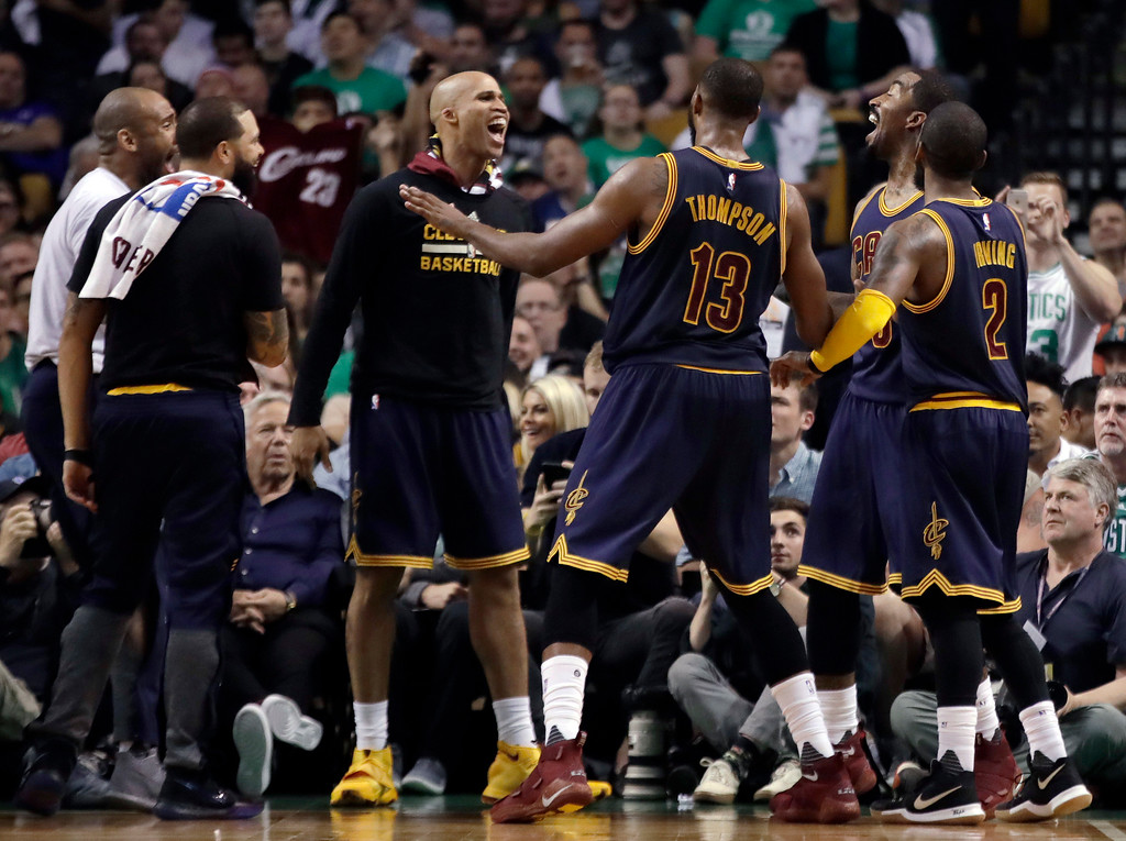 . Cleveland Cavaliers players celebrate their lead over the Boston Celtics during the first half of Game 2 of the NBA basketball Eastern Conference finals, Friday, May 19, 2017, in Boston. (AP Photo/Elise Amendola)