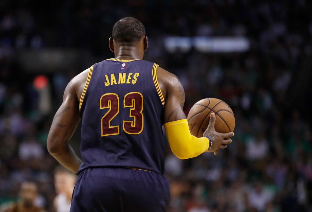 . Cleveland Cavaliers forward LeBron James brings the ball upcourt during first half of Game 2 of the NBA basketball Eastern Conference finals against the Boston Celtics, Friday, May 19, 2017, in Boston. (AP Photo/Elise Amendola)