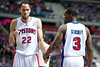 Jan 6, 2013; Auburn Hills, MI, USA; Detroit Pistons small forward Tayshaun Prince (22) high fives point guard Rodney Stuckey (3) during the fourth quarter against the Charlotte Bobcats at The Palace. Bobcats won 108-101 in overtime. Mandatory Credit: Tim Fuller-USA TODAY Sports