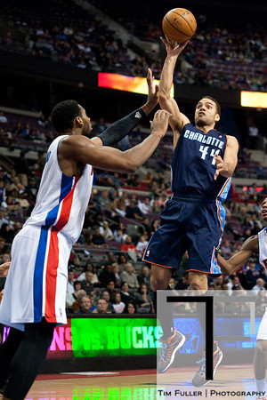 Jan 6, 2013; Auburn Hills, MI, USA; Charlotte Bobcats small forward Jeffery Taylor (44) shoots over Detroit Pistons center Andre Drummond (1) during the second quarter at The Palace. Mandatory Credit: Tim Fuller-USA TODAY Sports