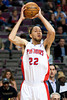 Jan 6, 2013; Auburn Hills, MI, USA; Detroit Pistons small forward Tayshaun Prince (22) during overtime against the Charlotte Bobcats at The Palace. Bobcats won 108-101 in overtime. Mandatory Credit: Tim Fuller-USA TODAY Sports