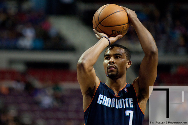 Jan 6, 2013; Auburn Hills, MI, USA; Charlotte Bobcats point guard Ramon Sessions (7) shoots a free throw during the second quarter against the Detroit Pistons at The Palace. Mandatory Credit: Tim Fuller-USA TODAY Sports