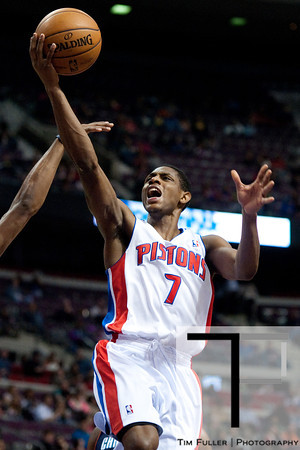 Jan 6, 2013; Auburn Hills, MI, USA; Detroit Pistons point guard Brandon Knight (7) goes to the basket during the third quarter against the Charlotte Bobcats at The Palace. Bobcats won 108-101 in overtime. Mandatory Credit: Tim Fuller-USA TODAY Sports