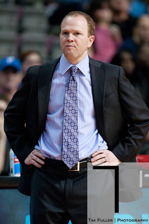 Jan 6, 2013; Auburn Hills, MI, USA; Detroit Pistons head coach Lawrence Frank during the third quarter against the Charlotte Bobcats at The Palace. Bobcats won 108-101 in overtime. Mandatory Credit: Tim Fuller-USA TODAY Sports