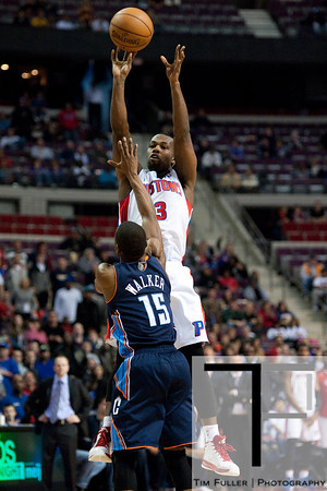 Jan 6, 2013; Auburn Hills, MI, USA; Detroit Pistons point guard Rodney Stuckey (3) shoots over Charlotte Bobcats point guard Kemba Walker (15) during the fourth quarter at The Palace. Bobcats won 108-101 in overtime. Mandatory Credit: Tim Fuller-USA TODAY Sports