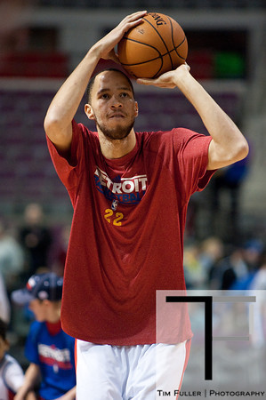 Jan 6, 2013; Auburn Hills, MI, USA; Detroit Pistons small forward Tayshaun Prince (22) warms up before the game at The Palace. Mandatory Credit: Tim Fuller-USA TODAY Sports