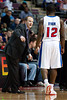 Jan 6, 2013; Auburn Hills, MI, USA; Detroit Pistons head coach Lawrence Frank talks to point guard Will Bynum (12) during the second quarter against the Charlotte Bobcats at The Palace. Mandatory Credit: Tim Fuller-USA TODAY Sports