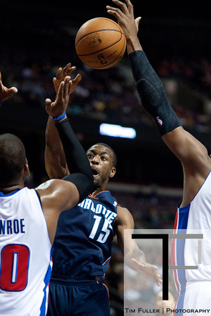 Jan 6, 2013; Auburn Hills, MI, USA; Charlotte Bobcats point guard Kemba Walker (15) goes to the basket against the Detroit Pistons during the first quarter at The Palace. Mandatory Credit: Tim Fuller-USA TODAY Sports