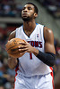 Jan 6, 2013; Auburn Hills, MI, USA; Detroit Pistons center Andre Drummond (1) shoots a free throw during the fourth quarter against the Charlotte Bobcats at The Palace. Bobcats won 108-101 in overtime. Mandatory Credit: Tim Fuller-USA TODAY Sports