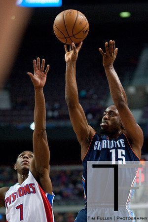 Jan 6, 2013; Auburn Hills, MI, USA; Charlotte Bobcats point guard Kemba Walker (15) during the first quarter against the Detroit Pistons at The Palace. Mandatory Credit: Tim Fuller-USA TODAY Sports