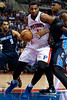 Jan 6, 2013; Auburn Hills, MI, USA; Detroit Pistons center Andre Drummond (1) goes to the basket during the fourth quarter against the Charlotte Bobcats at The Palace. Bobcats won 108-101 in overtime. Mandatory Credit: Tim Fuller-USA TODAY Sports