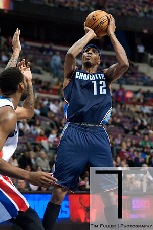 Jan 6, 2013; Auburn Hills, MI, USA; Charlotte Bobcats power forward Tyrus Thomas (12) during the second quarter against the Detroit Pistons at The Palace. Mandatory Credit: Tim Fuller-USA TODAY Sports