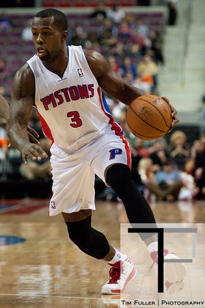 Jan 6, 2013; Auburn Hills, MI, USA; Detroit Pistons point guard Rodney Stuckey (3) drives to the basket during the third quarter against the Charlotte Bobcats at The Palace. Bobcats won 108-101 in overtime. Mandatory Credit: Tim Fuller-USA TODAY Sports
