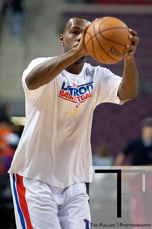 Jan 6, 2013; Auburn Hills, MI, USA; Detroit Pistons point guard Rodney Stuckey (3) warms up before the game against the Charlotte Bobcats at The Palace. Mandatory Credit: Tim Fuller-USA TODAY Sports