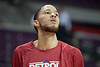 Jan 6, 2013; Auburn Hills, MI, USA; Detroit Pistons small forward Tayshaun Prince (22) warms up before the game against the Charlotte Bobcats at The Palace. Mandatory Credit: Tim Fuller-USA TODAY Sports