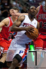 April 15, 2012; Auburn Hills, MI, USA; Detroit Pistons shooting guard Ben Gordon (8) drives to the basket against the Chicago Bulls during overtime at The Palace. Chicago won 100-94 in overtime. Mandatory Credit: Tim Fuller-US PRESSWIRE