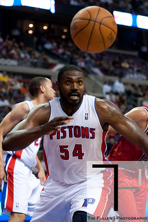April 15, 2012; Auburn Hills, MI, USA; Detroit Pistons forward Jason Maxiell (54) goes for a loose ball during the first quarter against the Chicago Bulls at The Palace. Mandatory Credit: Tim Fuller-US PRESSWIRE