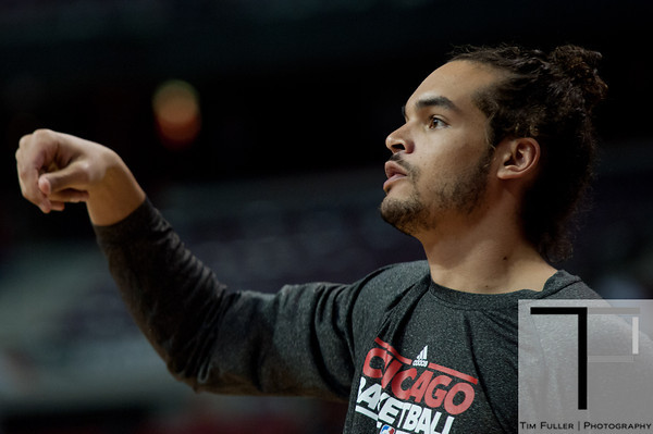 April 15, 2012; Auburn Hills, MI, USA; Chicago Bulls center Joakim Noah (13) warms up before the game against the Detroit Pistons at The Palace. Mandatory Credit: Tim Fuller-US PRESSWIRE