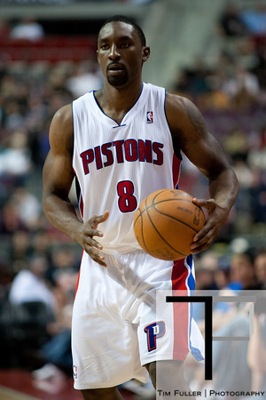 April 15, 2012; Auburn Hills, MI, USA; Detroit Pistons shooting guard Ben Gordon (8) during the fourth quarter against the Chicago Bulls at The Palace. Chicago won 100-94 in overtime. Mandatory Credit: Tim Fuller-US PRESSWIRE