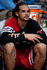 April 15, 2012; Auburn Hills, MI, USA; Chicago Bulls center Joakim Noah (13) sits on the bench during the second quarter against the Detroit Pistons at The Palace. Mandatory Credit: Tim Fuller-US PRESSWIRE