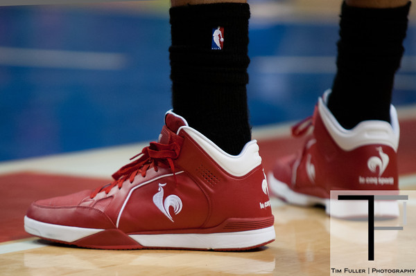 April 15, 2012; Auburn Hills, MI, USA; A detailed view of the shoes of Chicago Bulls center Joakim Noah (13) during the third quarter against the Detroit Pistonsat The Palace. Chicago won 100-94 in overtime. Mandatory Credit: Tim Fuller-US PRESSWIRE