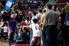 April 15, 2012; Auburn Hills, MI, USA; Detroit Pistons mascot Hooper high fives fans during the fourth quarter against the Chicago Bulls at The Palace. Chicago won 100-94 in overtime. Mandatory Credit: Tim Fuller-US PRESSWIRE