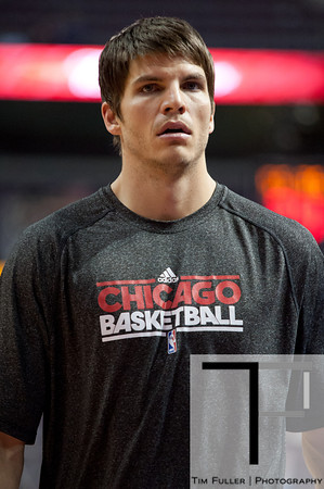 April 15, 2012; Auburn Hills, MI, USA; Chicago Bulls small forward Kyle Korver (26) warms up before the game against the Detroit Pistons at The Palace. Mandatory Credit: Tim Fuller-US PRESSWIRE