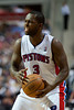 April 15, 2012; Auburn Hills, MI, USA; Detroit Pistons point guard Rodney Stuckey (3) during the fourth quarter against the Chicago Bulls at The Palace. Chicago won 100-94 in overtime. Mandatory Credit: Tim Fuller-US PRESSWIRE