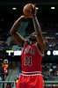 April 15, 2012; Auburn Hills, MI, USA; Chicago Bulls shooting guard Ronnie Brewer (11) takes a jump shot during the second quarter against the Detroit Pistons at The Palace. Mandatory Credit: Tim Fuller-US PRESSWIRE