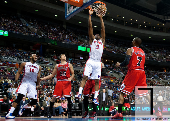 April 15, 2012; Auburn Hills, MI, USA; Detroit Pistons small forward Damien Wilkins (9) slam dunks during the fourth quarter against the Chicago Bulls at The Palace. Chicago won 100-94 in overtime. Mandatory Credit: Tim Fuller-US PRESSWIRE