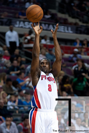 April 15, 2012; Auburn Hills, MI, USA; Detroit Pistons shooting guard Ben Gordon (8) takes a jump shot during the third quarter against the Chicago Bulls at The Palace. Chicago won 100-94 in overtime. Mandatory Credit: Tim Fuller-US PRESSWIRE