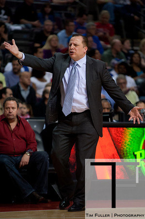 April 15, 2012; Auburn Hills, MI, USA; Chicago Bulls head coach Tom Thibodeau argues a call during the second quarter against the Detroit Pistons at The Palace. Mandatory Credit: Tim Fuller-US PRESSWIRE