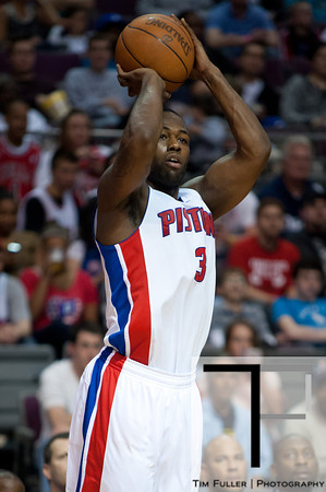 April 15, 2012; Auburn Hills, MI, USA; Detroit Pistons point guard Rodney Stuckey (3) takes a jump shot during the third quarter against the Chicago Bulls at The Palace. Chicago won 100-94 in overtime. Mandatory Credit: Tim Fuller-US PRESSWIRE
