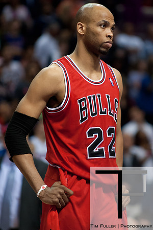 April 15, 2012; Auburn Hills, MI, USA; Chicago Bulls forward Taj Gibson (22) during the fourth quarter against the Detroit Pistons at The Palace. Chicago won 100-94 in overtime. Mandatory Credit: Tim Fuller-US PRESSWIRE